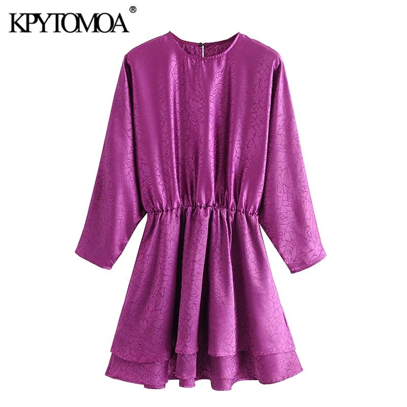 KPYTOMOA Women 2020 Chic Fashion Jacquard Ruffled Mini Dress Vintage Long Sleeve Elastic Waist Side Zipper Female Dresses Mujer