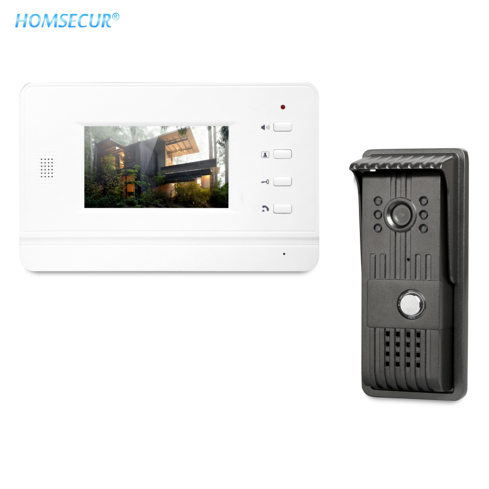 HOMSECUR 4.3inch Video Door Entry Phone Call System With Outdoor Monitoring For Apartment XC003+XM402