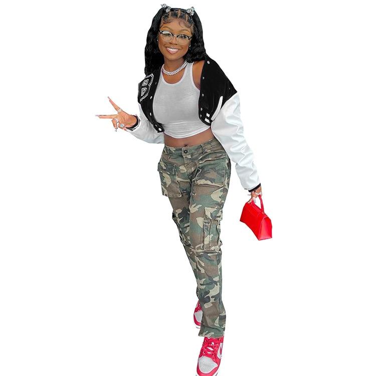 H45d5835c9f5846538367c2292880e7d7E Baseball Jackets for Women 2021 Autumn Letter Print Color Patchwork Cropped Long Sleeve Loose Short Bomber Jacket