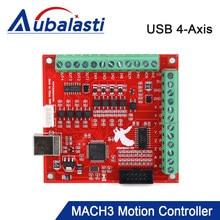 Aubalasti cnc usb mach3 breakout board 100khz 4-axis interface driver controlador de movimento placa motorista para cnc gravura 12-24v