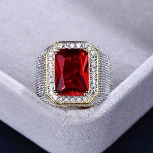 Image 4 - Bague Ringen Luxury 100% เงินสเตอร์ลิงแหวนรูปสี่เหลี่ยมผืนผ้าทับทิมอัญมณี Charm แหวนเงินชายเครื่องประดับของขวัญขายส่ง