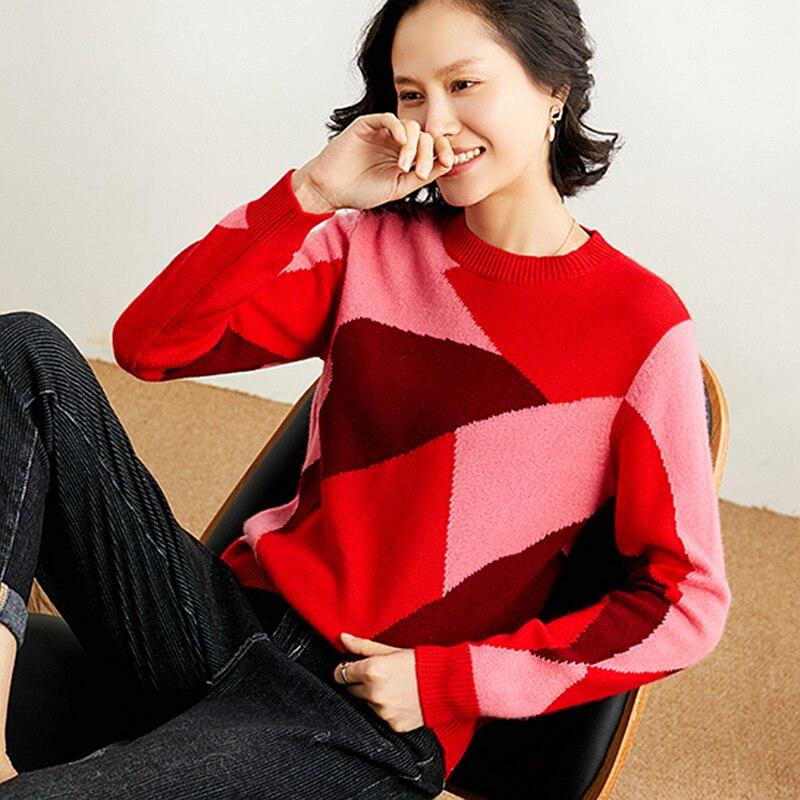 100% Cashmere Pullover di Qualità Donna Patchwork Maglione Donna Modello di Lavoro A Maglia A Maniche Lunghe Delle Signore casual Maglieria di Nuovo Modo - 2