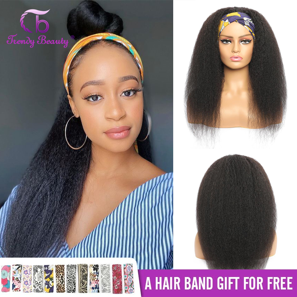 Headband Wig Kinky Straight Wig Human Hair Wigs For Women Scarf Wig No Glueless Brazilian Yaki Straight HeadBand Wigs 180Density