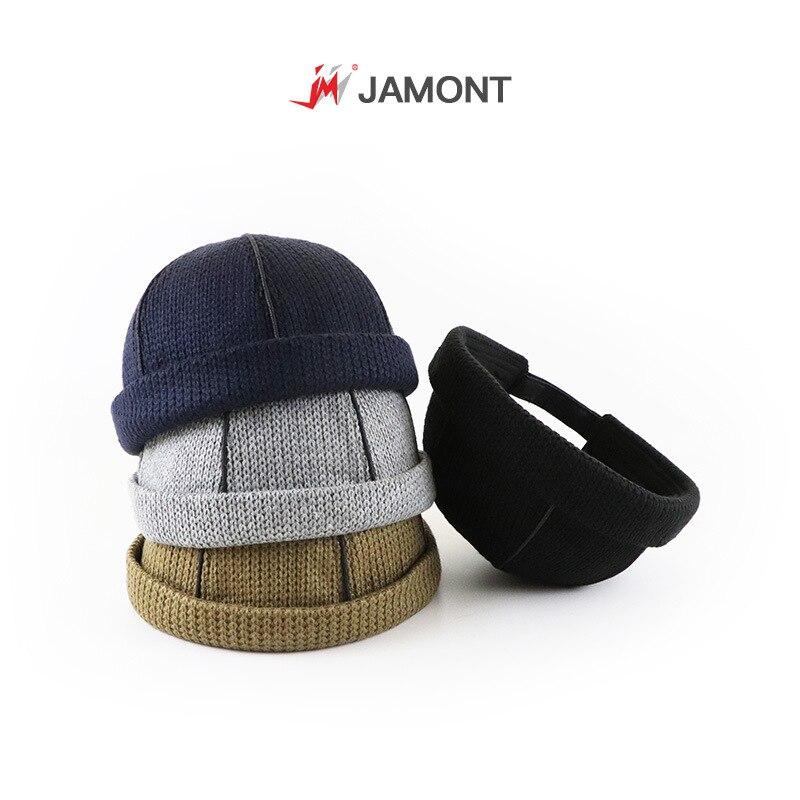 Men Knitted Hat Beanie Skullcap Sailor Cap Cuff Brimless Retro Navy Style Beanie Hat Miki Hat