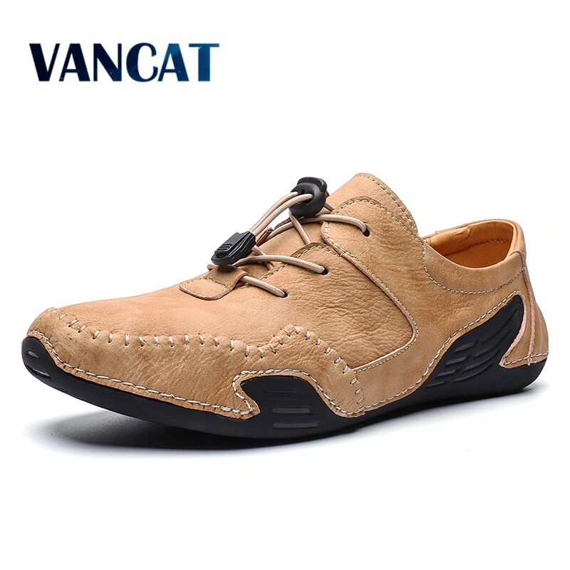 2020 New High Quality Leather Casual Shoes  Fashion Men Shoes Handmade Vintage Loafers Flats Hot Sale Moccasins Big Size 39-46