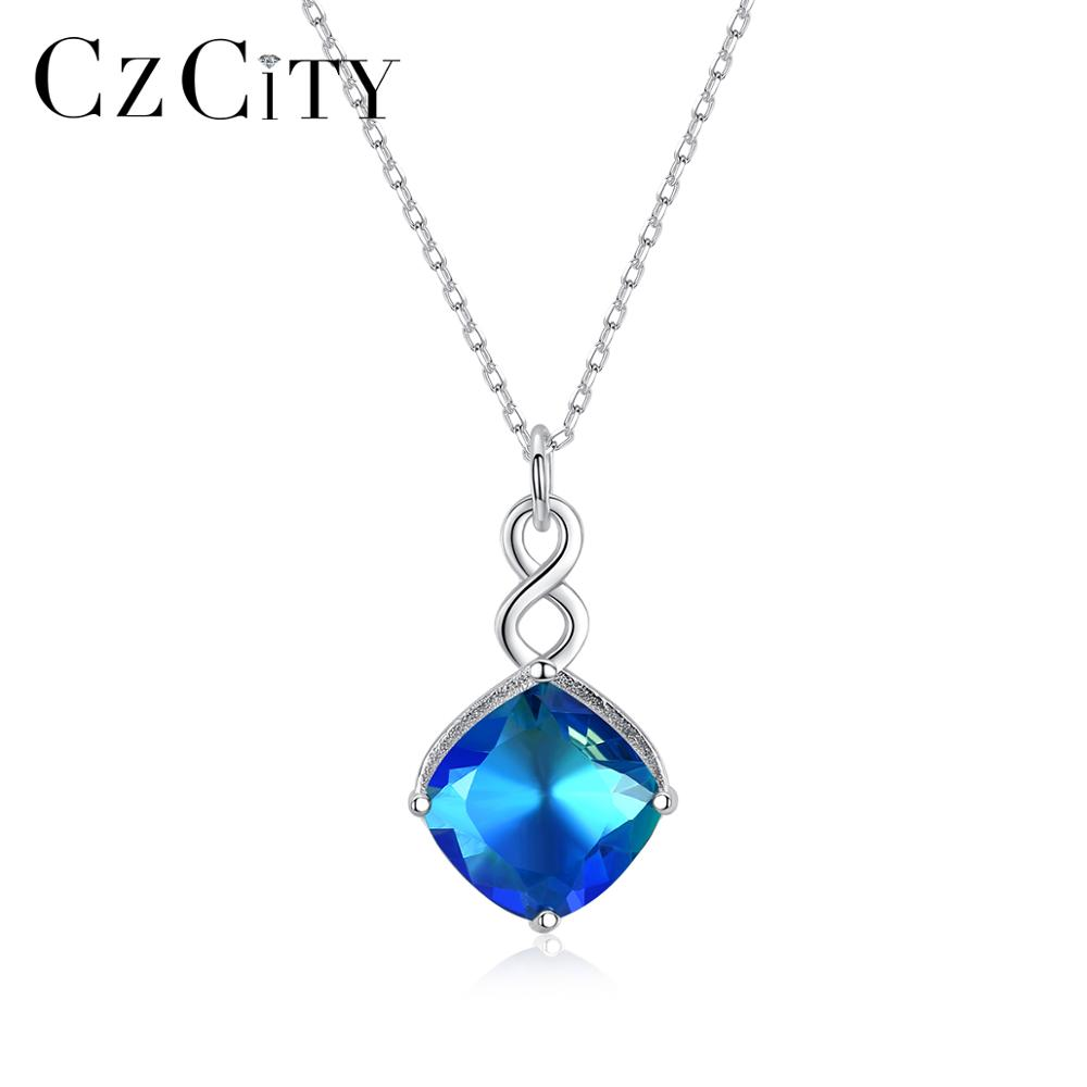 CZCITY Sapphire Gemstone Pendant Necklaces For Women Wedding Engagement Fine Jewelry 925 Sterling Silver Collares Christmas Gift