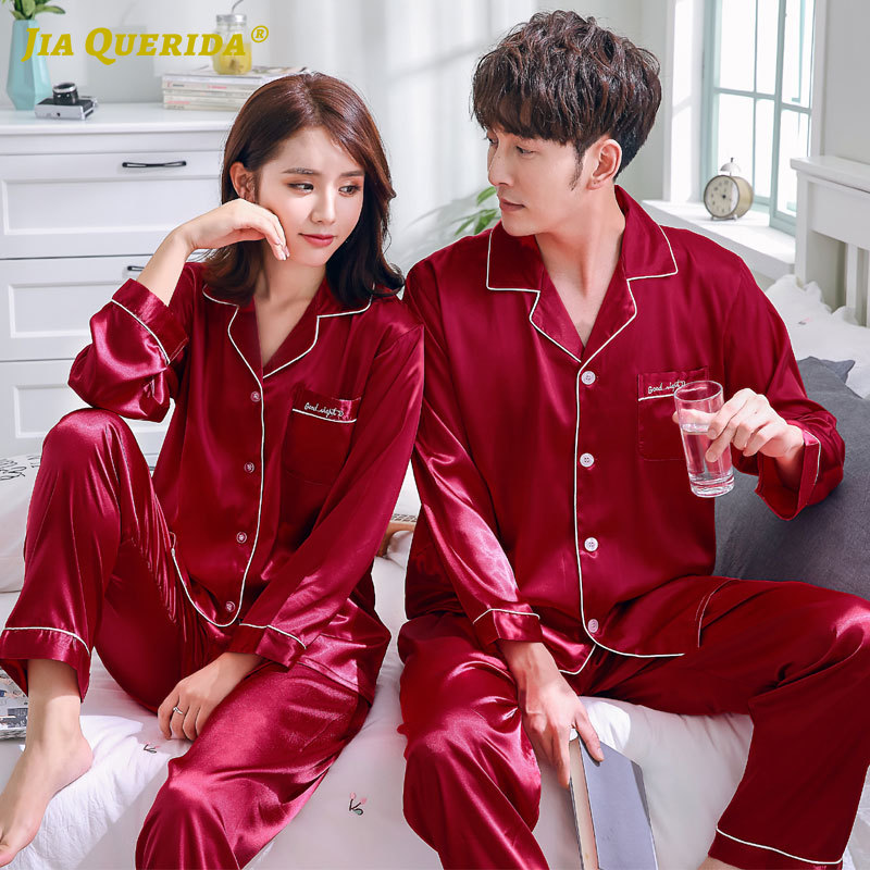 Satin Silk Imitated Silk Homesuit Homeclothes Fashion Style Casual Style Long Sleeve Long Pants Turn Down Collar Men And Women