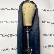 Remy longo reta cor azul escuro natural linha fina transparente 13x 4/6 frente do laço 100% perucas humanas com o cabelo do bebê alça ajustável