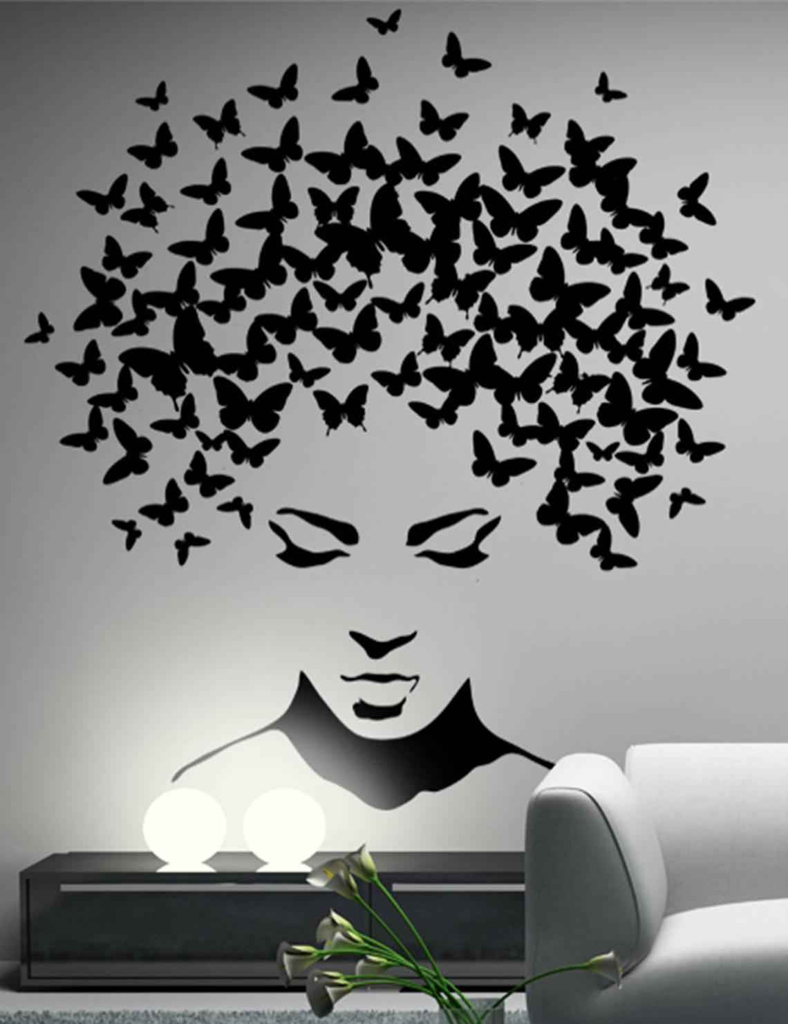 Butterfly Woman Head Wall Decal Butterfly Wall Decoration Butterfly Wall Sticker Living Room Bedroom Art Deco Home Decoration 34