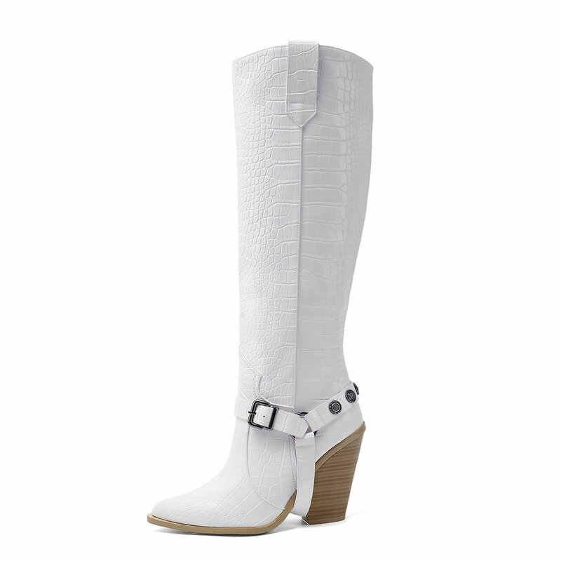 Herfst Vrouwen Laarzen Mode Gesp Knie Hoge Laarzen Pu Leer Wiggen Hoge Hak Lange Laarzen Puntschoen Winter Vrouw Schoenen