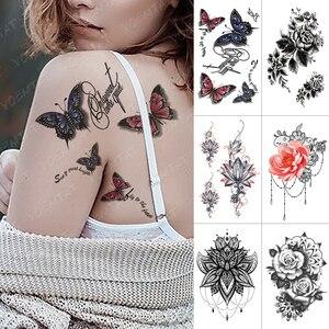 Временная водостойкая наклейка для татуировок с бабочками, розами, флэш-татуировками, цветы мандалла Лотос, боди-арт, искусственная татуиро...