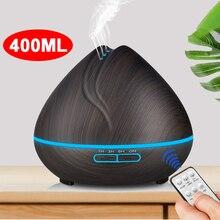 400 мл пульт управление +аромат эфирные масла масло диффузор ультразвуковой воздух увлажнитель с деревом зерном светодиоды огни для офиса дома