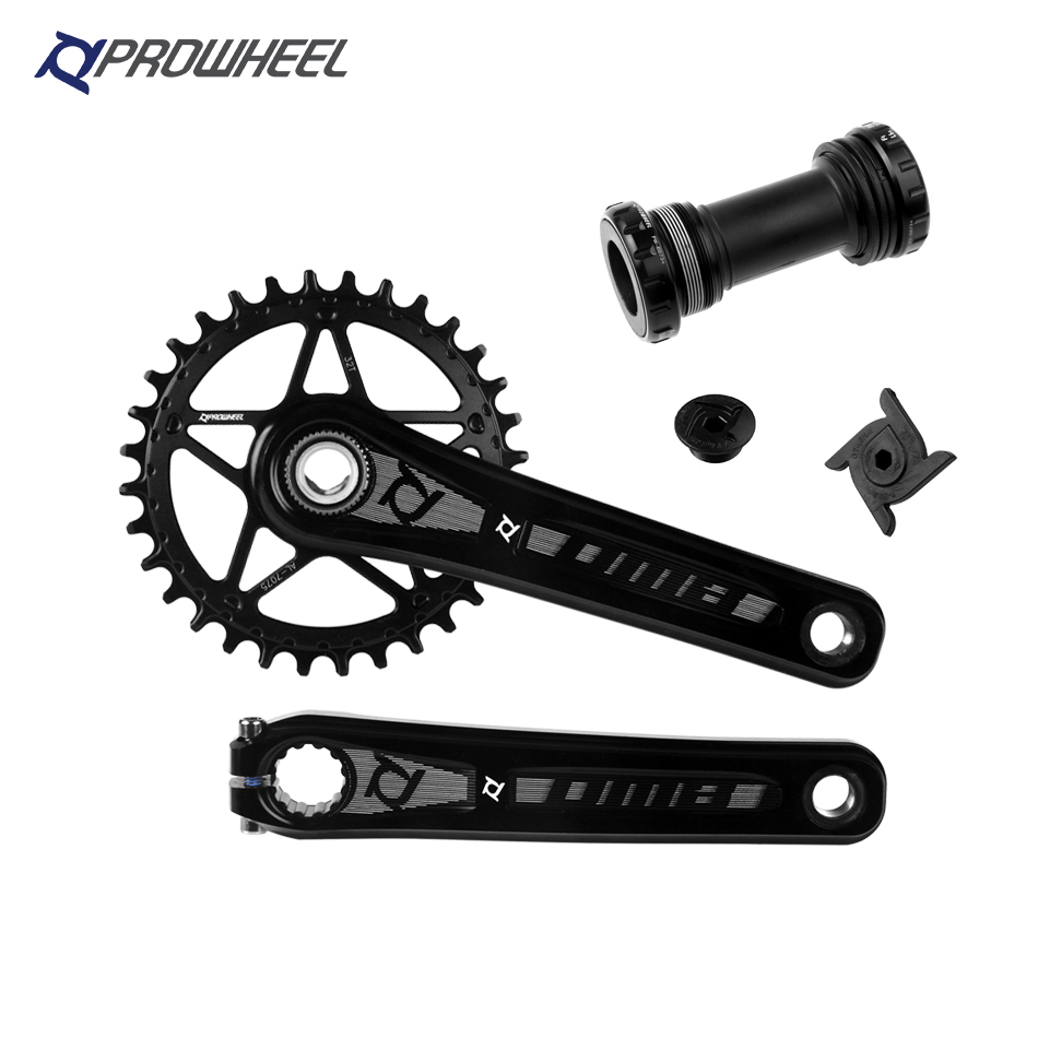 PROWHEEL Mountain Bike Crank Aluminum Alloy 170/175mm 32/34/36/38T GXP Narrow Wide Sprocket with Bottom Bracket BB MTB Crankset