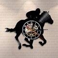 Настенные часы для конного спорта  современные настенные часы для верховой езды  художественный декор  винтажные виниловые часы для конных ...