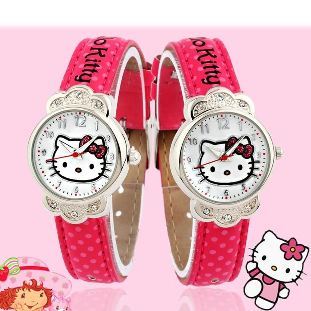Cute Kt Cat Children's Watch Diamond Girl Child Watch Student Waterproof Belt Children's Watch Professional Production Watch