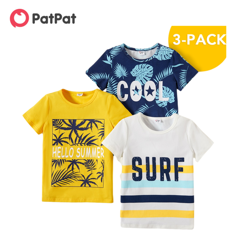 Новое поступление, летняя детская одежда PatPat из 3 предметов для мальчиков, футболки с буквенным принтом, детская одежда|Футболки| | АлиЭкспресс