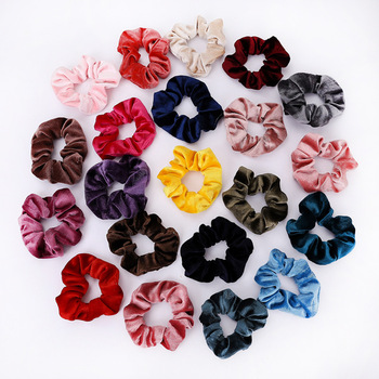 2 pieces / Lot Women Hair Scrunchie Elastic Velvet Hair Bands Rope Solid Color Girls Headwear Ponytail Holder Hair Accessories 20 pcs lot solid velvet hair scrunchies elastic hair ties bands women girls headwear ponytail holder korean hair accessories