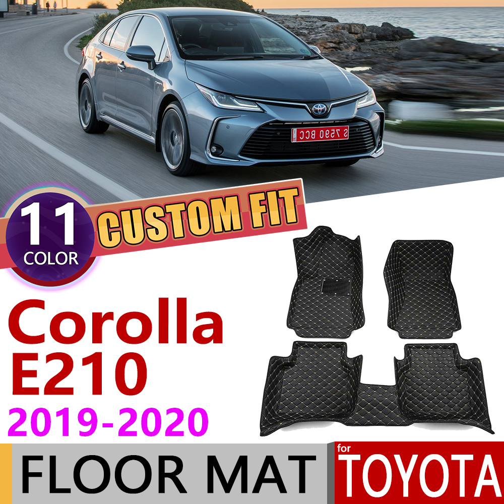 Custom Leather Car Floor Mats For Toyota Corolla Altis E210 E 210 2019~2020 5Seats Auto Waterprool Foot Pad Carpet Accessories