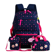 Three-piece backpack canvas Printing Nylon Children Backpacks Kids Kindergarten School Bags Baby Boys Girls