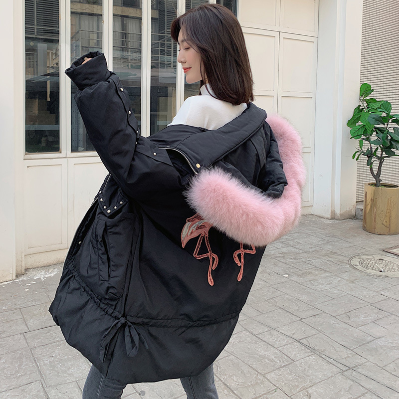 Women Winter Down Jacket Long Down Coat Female Fashion Jacket + Large Fur Hooded Warm Thick Jackets Ladies Clothes H6001