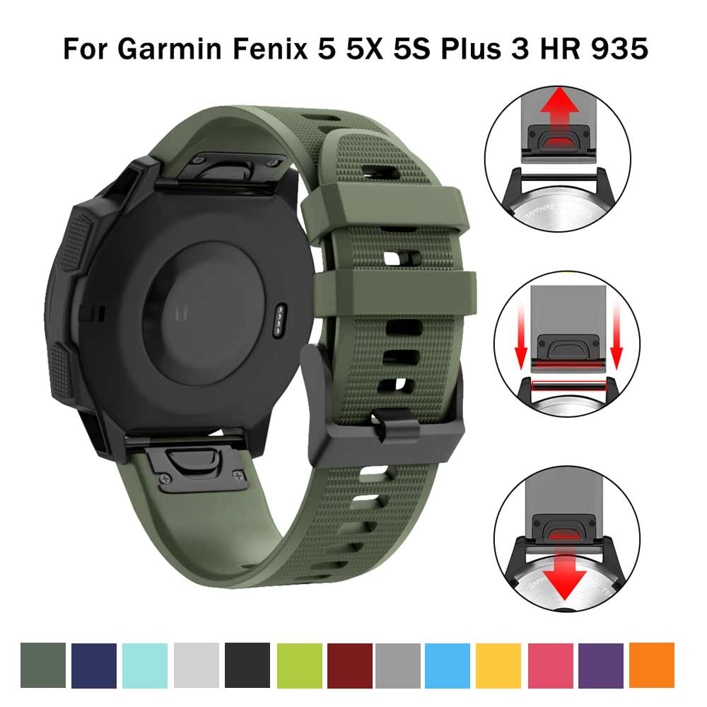 20 22 26mm Silicone Sport Silicone Watchband Strap For Garmin Fenix 5X 6X Pro 5 6 935 5s Plus 6s 3 3HR Watch Easyfit Wrist Band