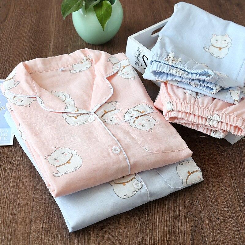 Japanese Summer Women Pajamas Set Cotton Long Sleeve Set Pajamas Spring and Autumn Gauze Comfortable Lovely Thin Home Clothing