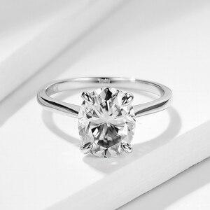 Image 5 - Kuololit ירוק כחול סוליטייר טבעת לנשים 10K מוצק זהב טבעת סגלגל Moissanite יהלומים לחתונה אירוסין בסדר תכשיטים