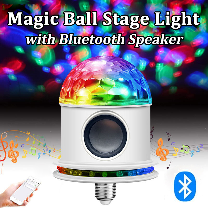 Led Disco Light with Bluetooth Speaker Voice Control Rechargeable DJ Laser Disco Ball Lamp for Home Party Lights Discolamp