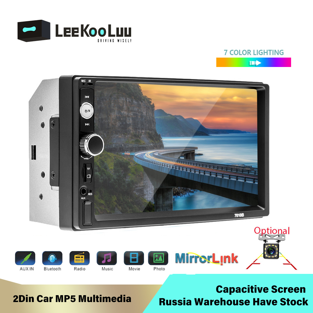 LeeKooLuu 2 Din Car Radio Mirror Link (for Android Phones) Capacitive Screen Autoradio Central Multimedia MP5 <font><b>2Din</b></font> Radio Player image