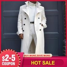 Retro Men Straight Jacket Long Sleeve Lapel Button White Casual Fashion Gentleman Coat 2020 Autumn Winter Overcoat
