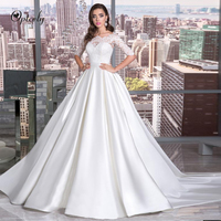 Optcely Stunning Scoop Neck Quality Appliques Beaded A Line Wedding Dresses 2019 Bow Satin Button Princess Gowns Robe De Mariee