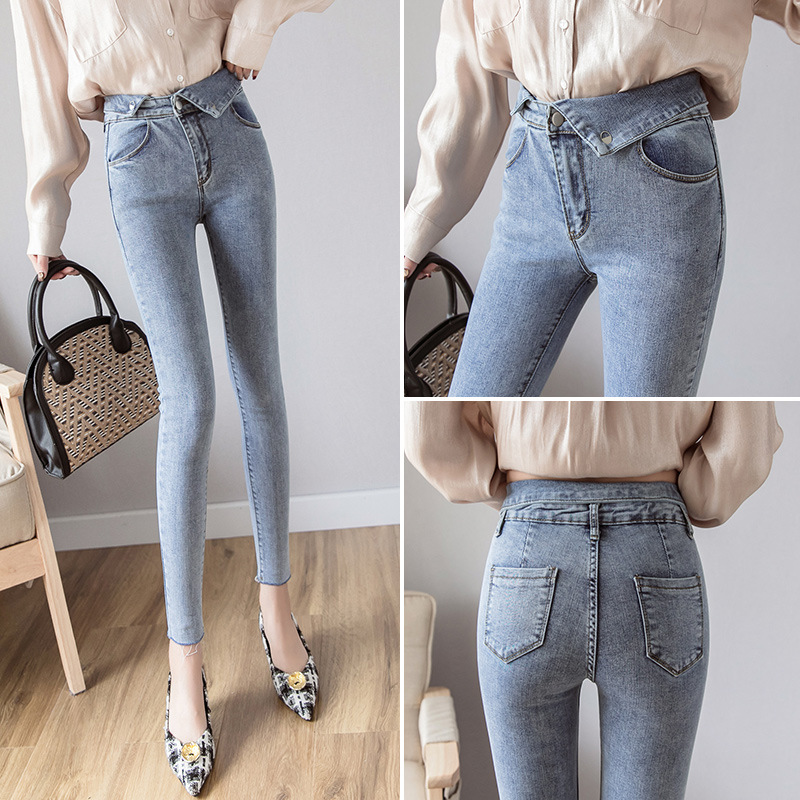 6917 Photo Shoot Online Celebrity Jeans Women's Autumn High-waisted 2019 Spring And Autumn New Style Korean-style Slim Fit Pants