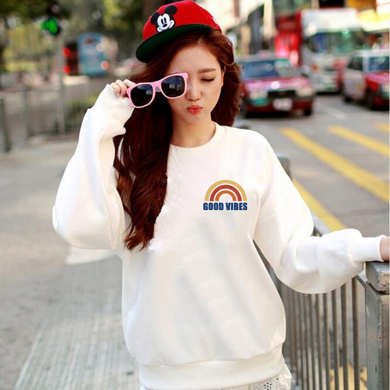 Fashion Female Long Sleeve Oversized Hoodie Pullover Women's Sweatshirt Rainbow Letter Print Jacket Plush Tops Ladies Clothes