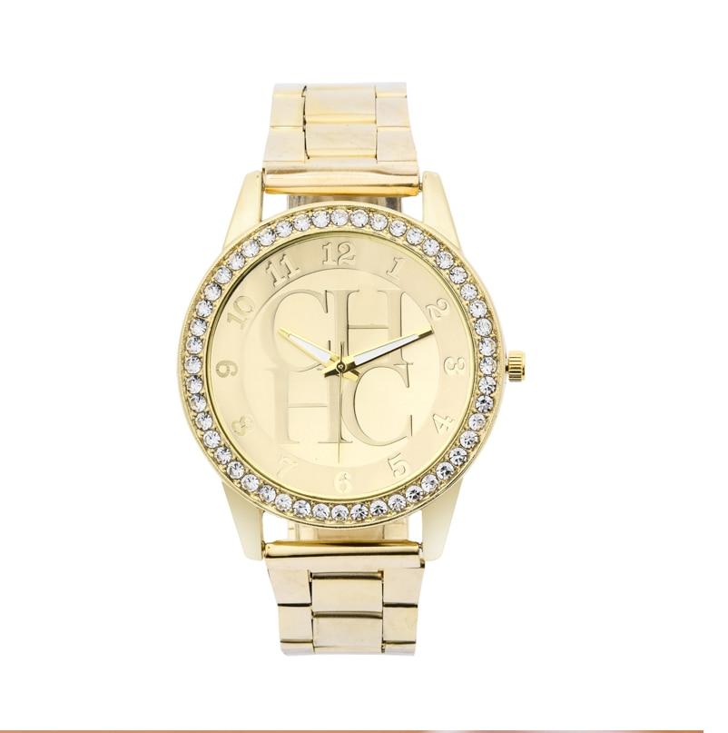 Reloj Mujer New Ladies Fashion Casual CH Quartz Watch Women Crystal Stainless Steel Digital Watch Cheap Hot Sale Zegarki Meskie
