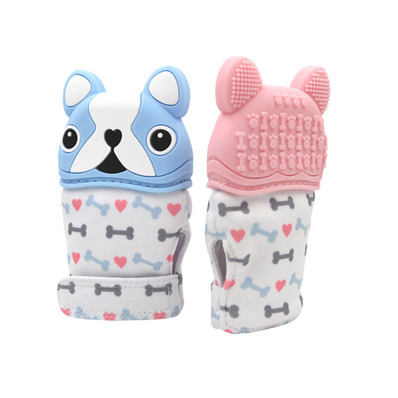 Animal Dog Cartoon Teething Gloves Finger Baby Baby Teether Mittens Silicone Toy Baby Newborn Dental Care Sucking Sound Kids Toys