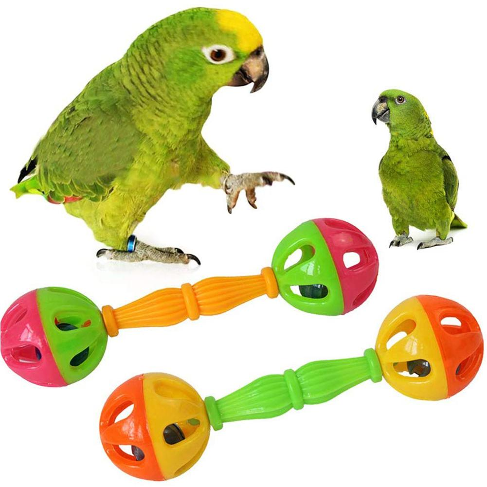 Pet Bird Parrot Hollow Double-head Bell Ball Rattle Bite Chew Interactive Toy