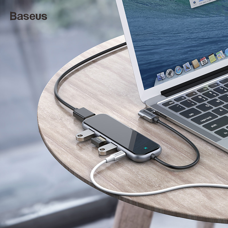 Baseus USB Hub To HDMI USB 3.0 Hub For Macbook Pro Huawei Samsung 5 Ports Mobile Phone Adapter USB Splitter Dock Type C Hub Hab