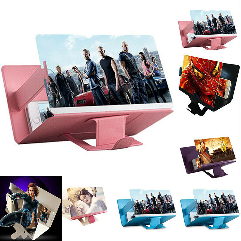 New 3D 8 Inch PU Leather Case Folding Mobile Phone Screen Amplifier Enlarged Screen Magnifier Bracket Cell Phone Holder
