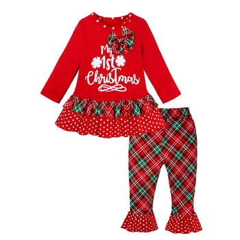 Baby Girls Christmas Clothes Letter Cartoon Deer Dress + Pants 2pcs Sets With Bow Princess Outfits Kids Festival Costume MB520 1