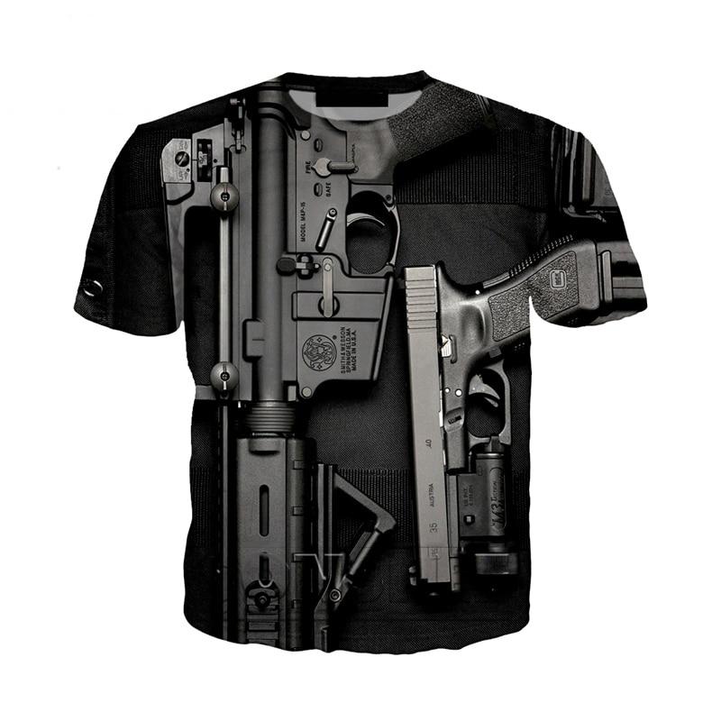 New Fashion Punk T Shirt Guns Bullet T-Shirt Men Black Tshirt Heavy Metal Tops 3D Gun Harajuku Print Dress Hip Hop Tee Shirt