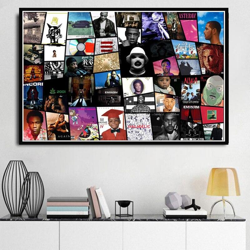 Cópias do cartaz Estrela da Música Rap Drake NWA GRANDE J Cole Colagem Álbuns de Hip Hop Pintura Arte Retratos Da Parede Para Sala de estar sala de Decoração Para Casa
