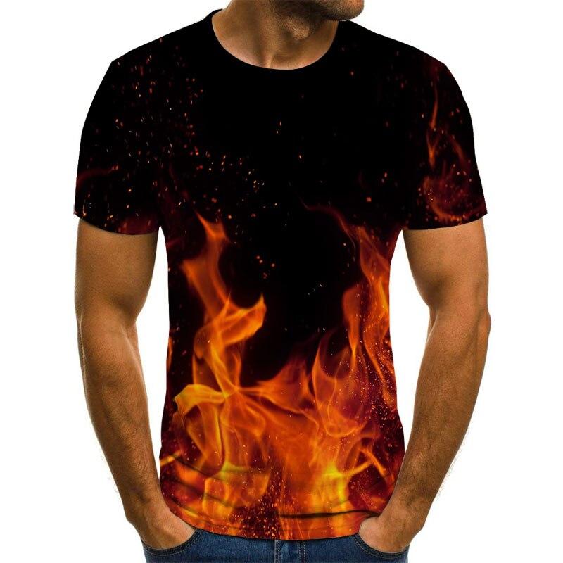 2021 New flame men's T-shirt summer fashion Harajuku 3D round neck shirt black smokey shirt trend male oversized T