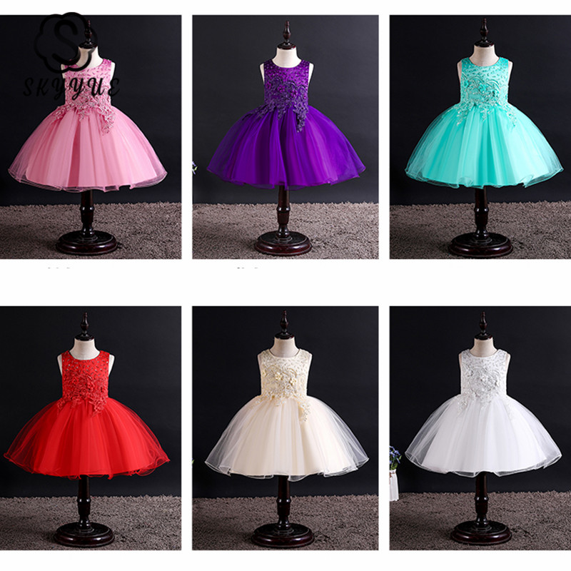 Skyyue Flower Girl Dress For Wedding  Applique Tulle Communion Gown O-Neck Sleeveless Embroidery Kids Party Dresses 2019 182