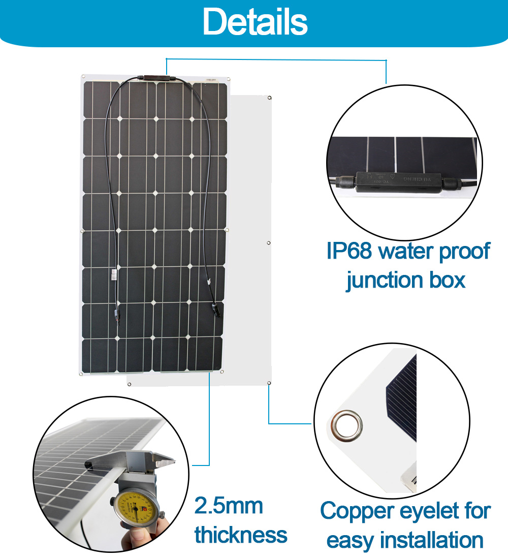 4 pièces 100 watt panneaux solaires haute qualité panneau solaire kit module 100 w flexible panneau solaire 200w 300w pour la maison rv toit bateaux - 4