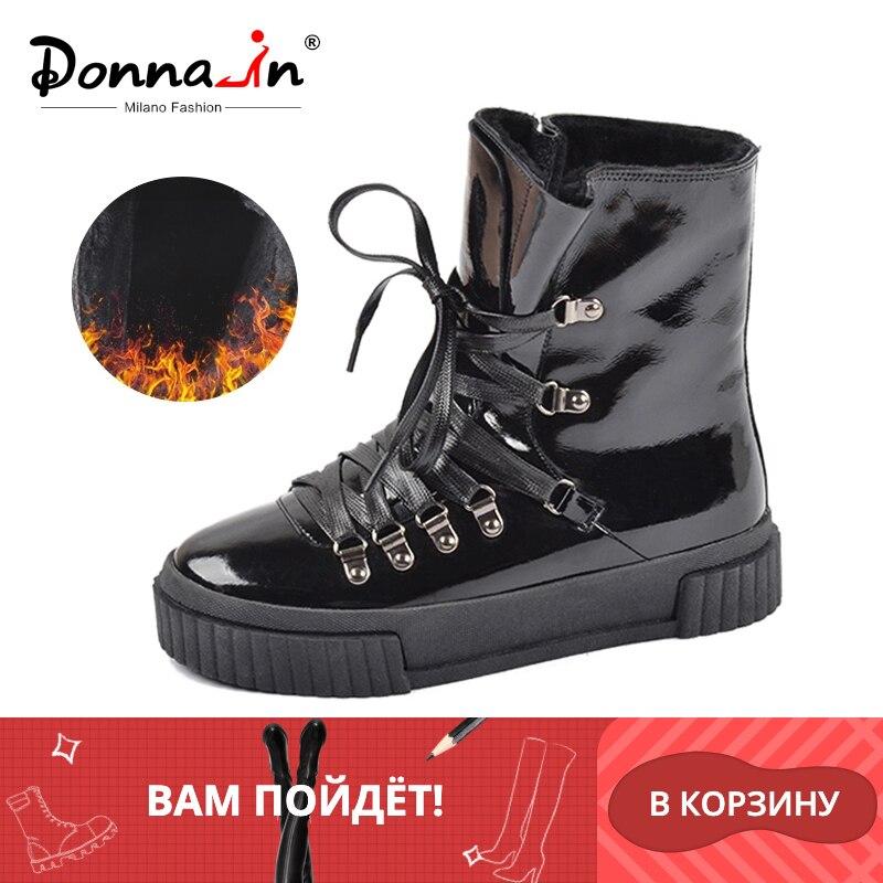 Donna-in 2019 nouvelle mode hiver bottines femmes en cuir plate-forme à talons hauts à lacets court Pulsh chaud femmes bottes dames chaussures