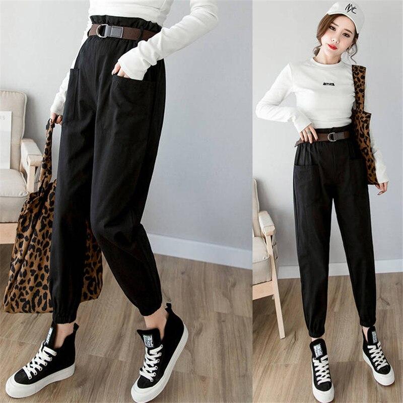 High waist   pants   Solid loose joggers women black harem camo   pants   streetwear punk black cargo   pants   women   capris   trousers female