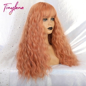 Image 4 - TINY LANA Long Loose Wave Synthetic Wigs Orange Pink Color With Bangs For America Women Heat Resistant Fibre Cosplay Lolita Hair