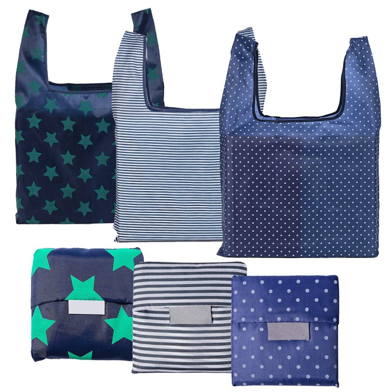 6 Pack Reusable Grocery Bags, Foldable Eco-Friendly Shopping Tote,Washable,Waterproof,Durable And Lightweight, Blue