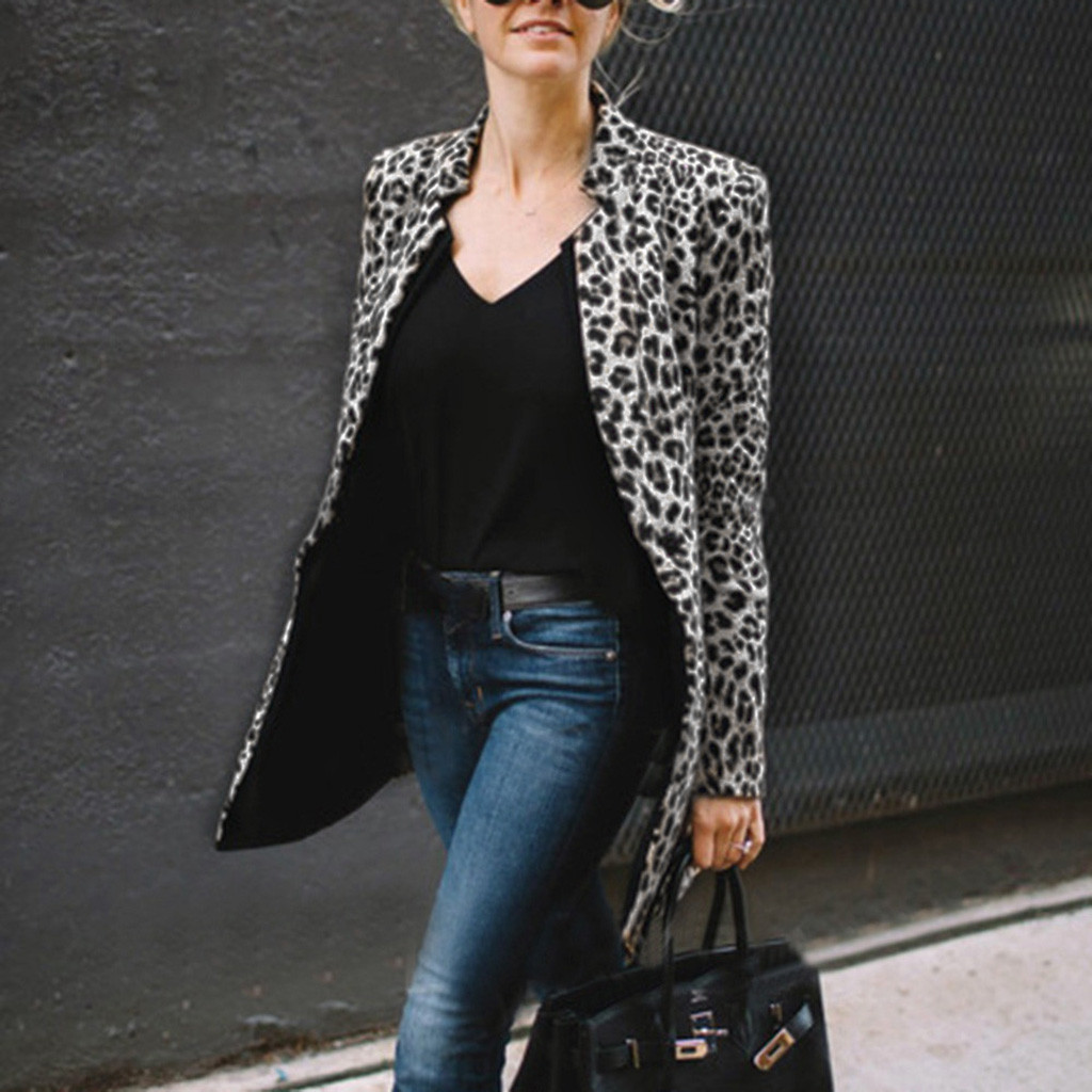 Sexy Women Casual Leopard Jacket Autumn Long Sleeve Turn-Down Collar Suit Coat Slim Formal Blazer Plus Size 5XL Cardigan