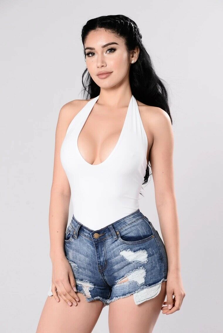 Women Summer Sexy Sleeveless V Neck Solid Bandage Bustier Bodycon Halter Jumpsuit Ladies Backless Romper Top